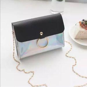 Handbags - Mini Holographic Black and Golden Crossbody Bag